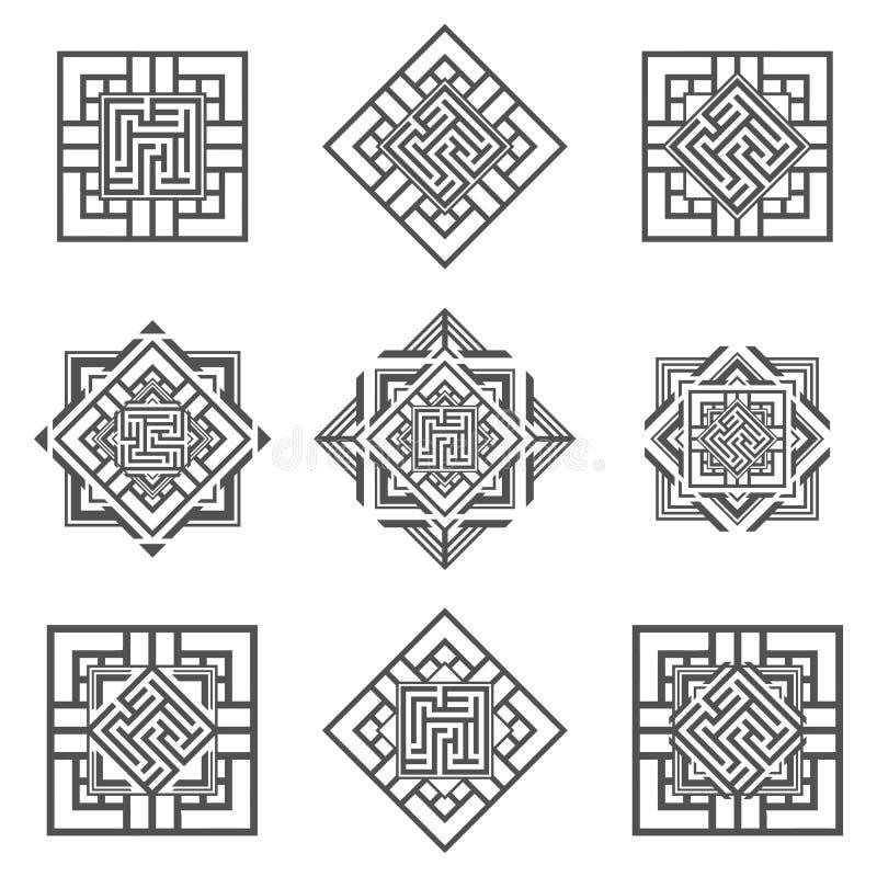 套抽象迷宫元素 库存例证