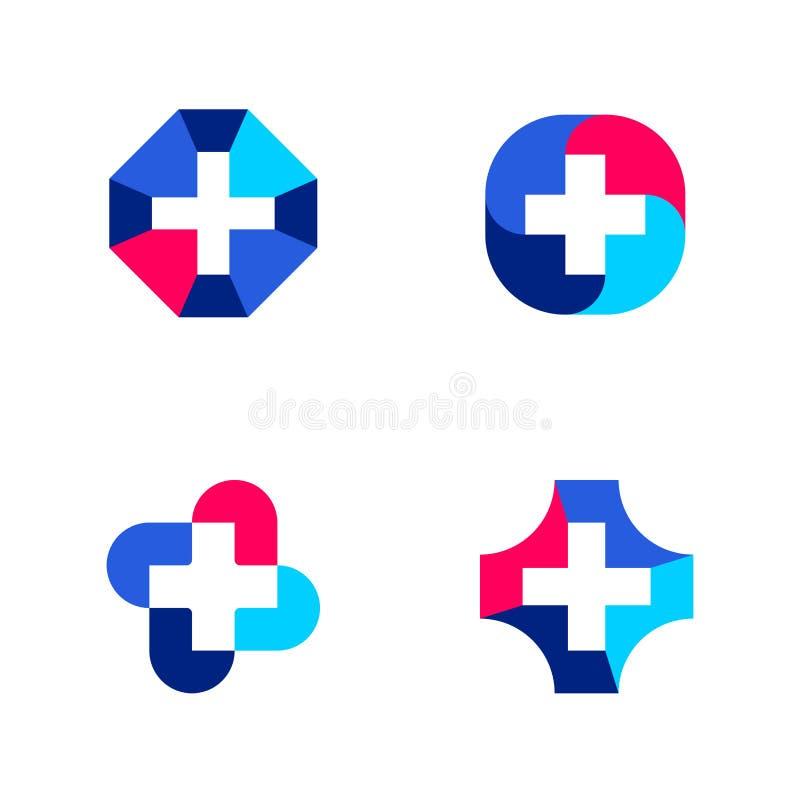 套抽象医疗商标模板或象与十字架 向量例证