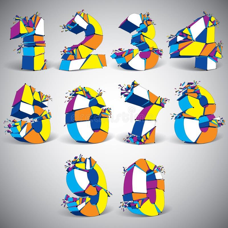 套抽象3d在与被连接的黑色的五颜六色的数字上雕琢平面 库存例证