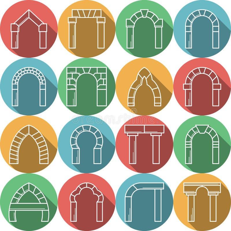 套拱道的色的平的象 向量例证