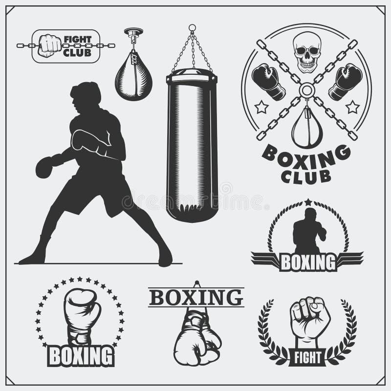 套拳击俱乐部标签、象征、徽章、象和设计元素 例证百合红色样式葡萄酒 皇族释放例证