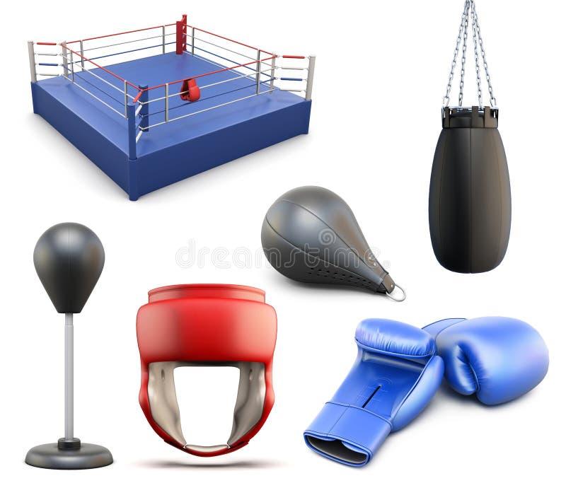 套拳击 3d背景要素例证问题结构团结白色 向量例证