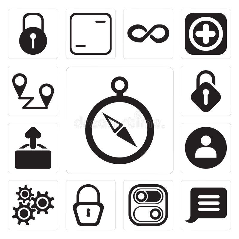 套指南针,通知,开关,被锁,设置,用户,  库存例证