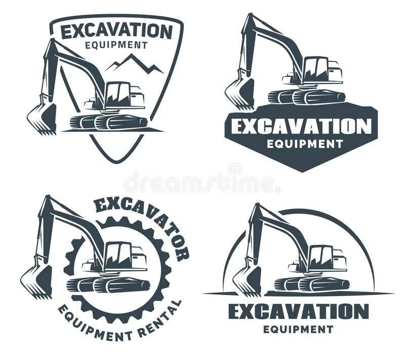 套挖掘机商标 向量例证