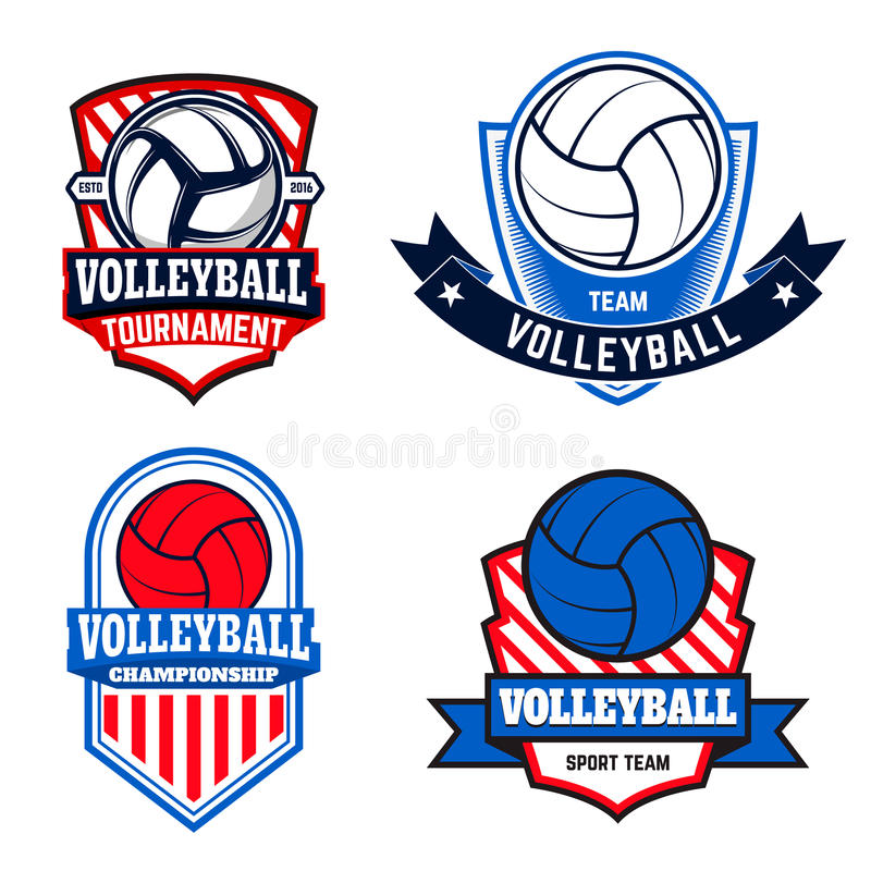 套排球标签和商标排球的合作 皇族释放例证