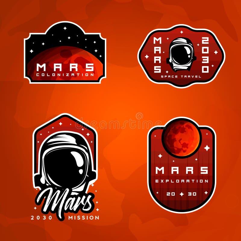 套探险空间徽章 飞行到火星贴纸 向量例证