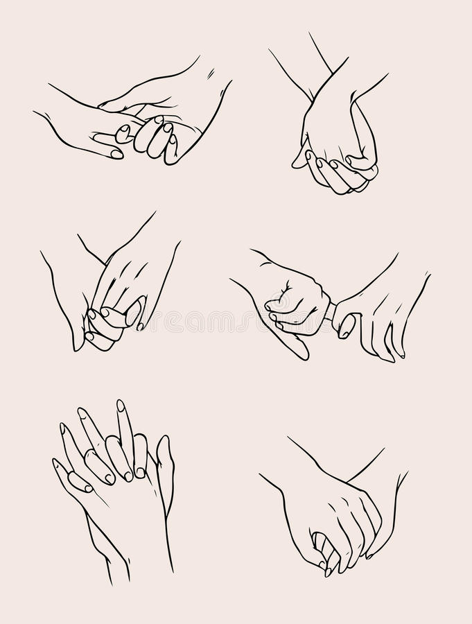 套握手的恋人夫妇 爱人 汇集例证 库存例证