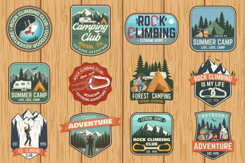 套攀岩俱乐部和夏令营证章 向量 库存例证