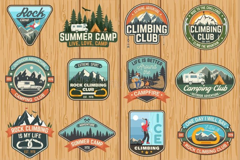 套攀岩俱乐部和夏令营证章 向量 皇族释放例证