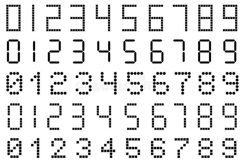 套数字式数字的不同的类型 库存例证