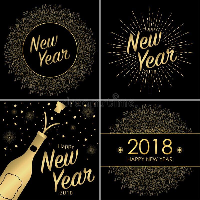 套新年快乐2018年与金瓶的贺卡酒 皇族释放例证