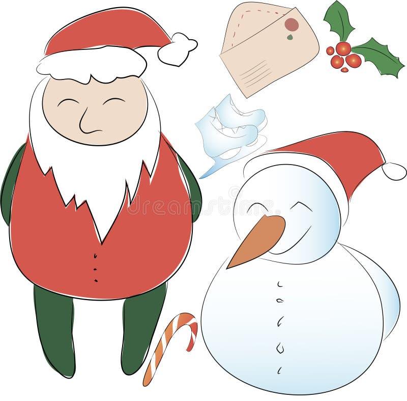 套新年或圣诞节装饰的元素 克劳斯・圣诞老人 库存照片