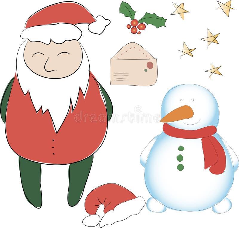 套新年或圣诞节装饰的元素 克劳斯・圣诞老人 免版税图库摄影