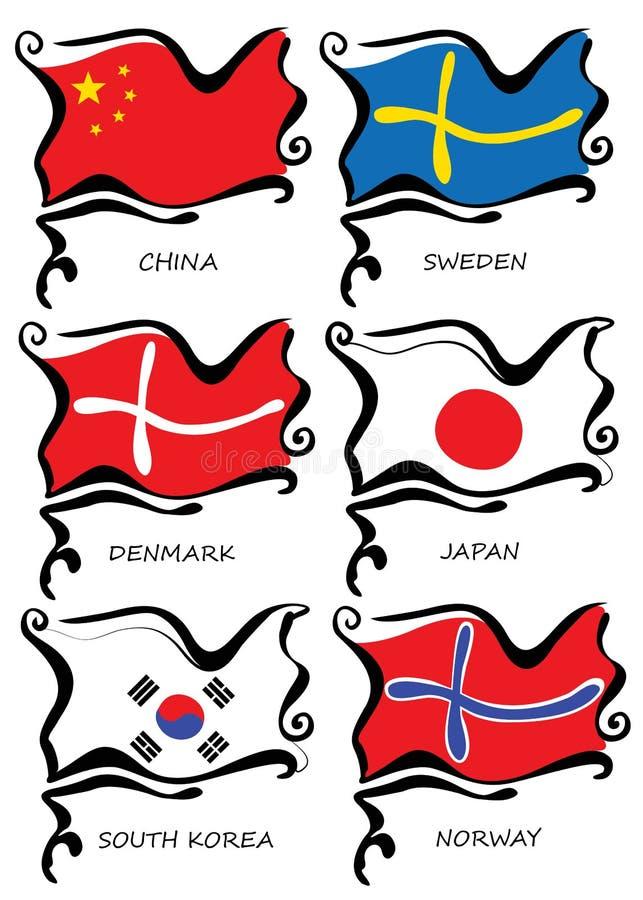 套旗子传染媒介设计 皇族释放例证
