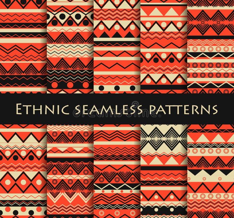 套无缝在种族样式 部族纺织品,嬉皮样式 对墙纸,床单,瓦片,织品,背景 向量 库存例证