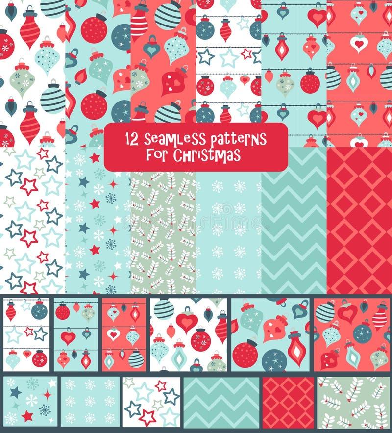 套无缝的五颜六色的明亮和乐趣圣诞节样式 向量例证