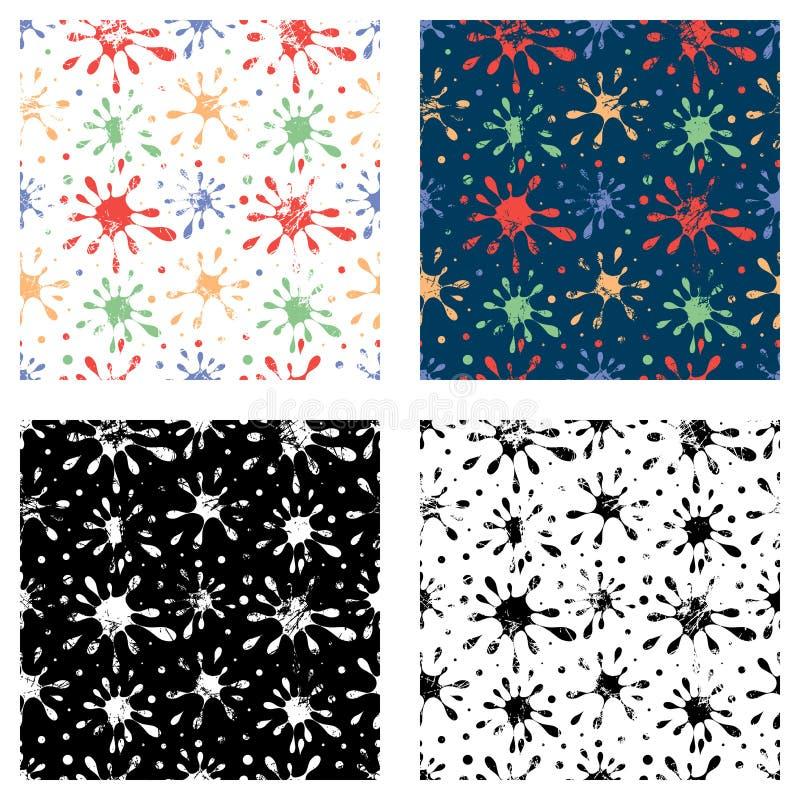 套无缝的传染媒介手拉的得出的样式 与污点的创造性的五颜六色和黑,白色背景 与attritio的纹理 皇族释放例证