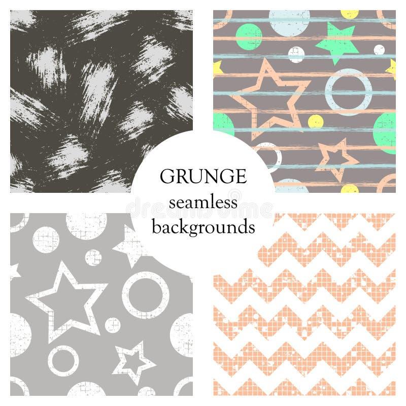 套无缝的传染媒介摘要难看的东西样式,与星,圈子,线,与attr的crancle脏的纹理的不同的背景 库存例证
