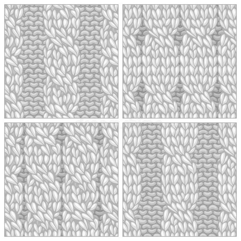 套无缝的四针缆绳针样式 向量例证