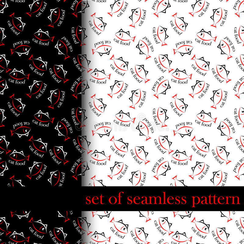 套无缝的样式与唱歌或猫食的标志 向量 向量例证