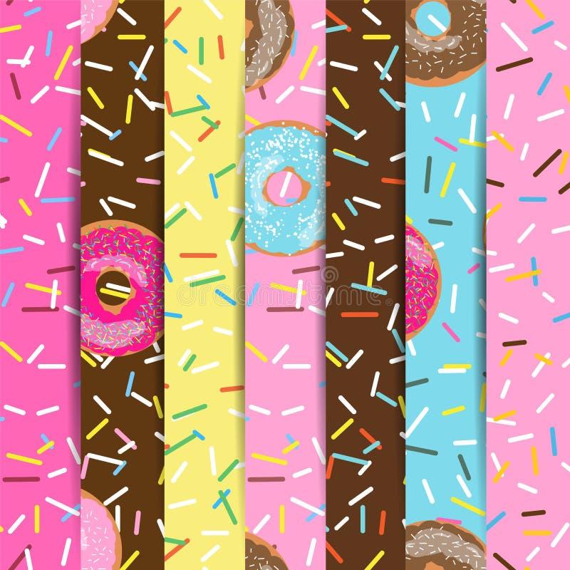 套无缝的样式明亮的鲜美传染媒介油炸圈饼和在咖啡馆和商店洒在动画片样式的背景菜单的 皇族释放例证
