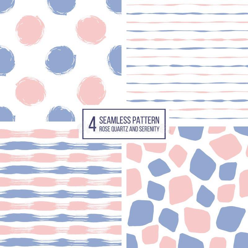 套无缝的样式条纹、圆点、马赛克斑点在颜色2016蔷薇石英和平静 皇族释放例证