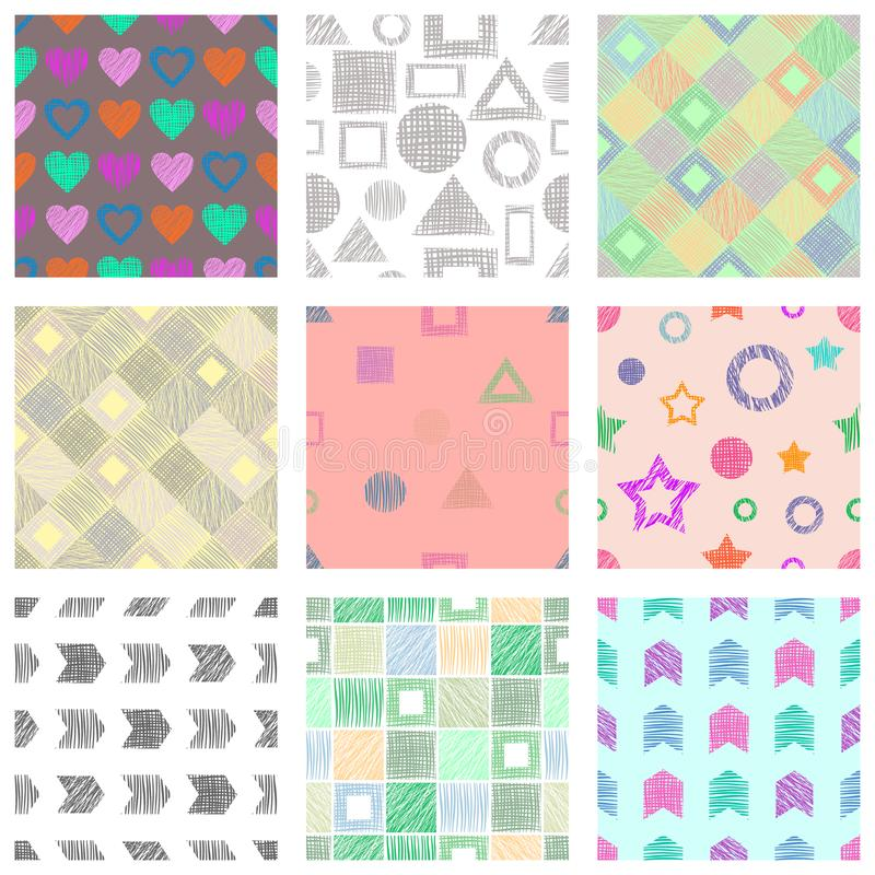 套无缝的用不同的几何图,形式的传染媒介几何样式 与手拉的tex的淡色不尽的背景 向量例证