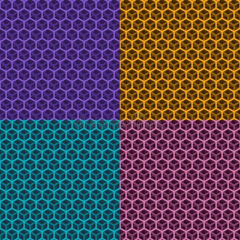 套无缝的立方体样式 库存例证