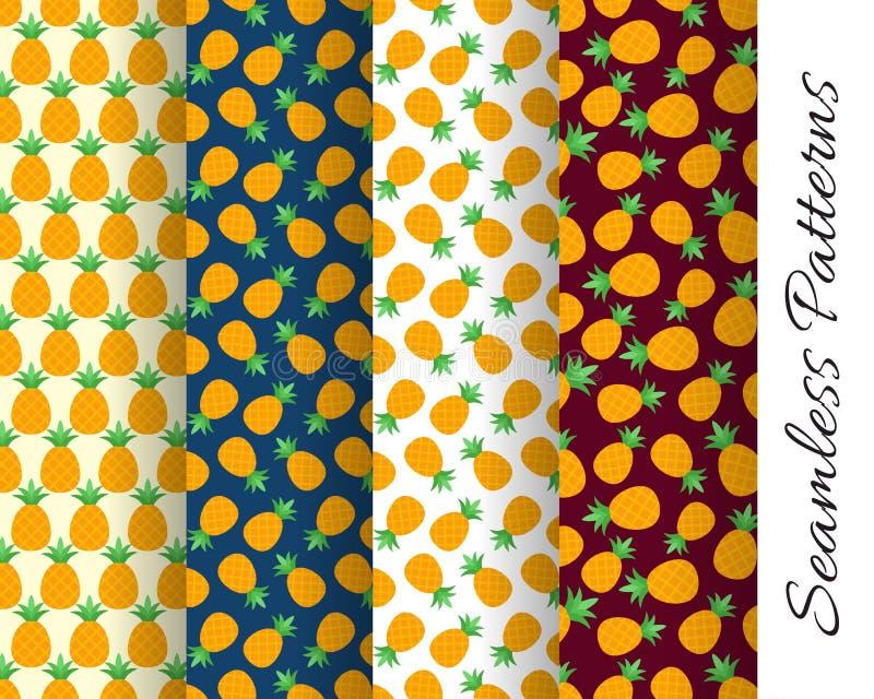 套无缝的菠萝样式 向量例证