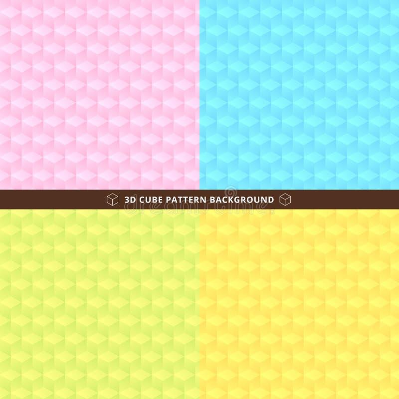 套无缝的3D立方体样式五颜六色的设计背景 向量例证