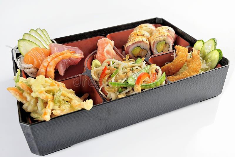 套日本食物寿司和天麸罗 免版税库存照片