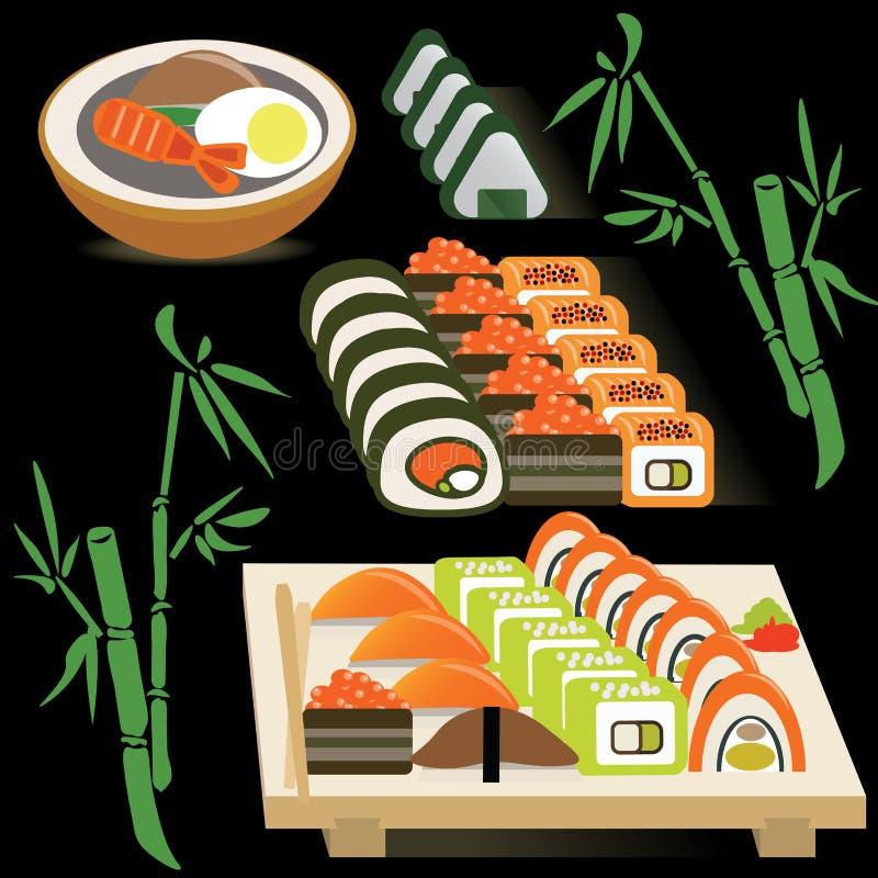 套日语在委员会和大酱汤滚动  向量例证