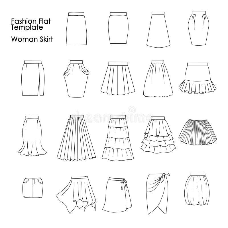 套时尚平的模板剪影-妇女裙子 皇族释放例证