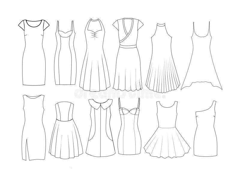 套时尚平的模板速写-妇女礼服-短和中等长度 皇族释放例证