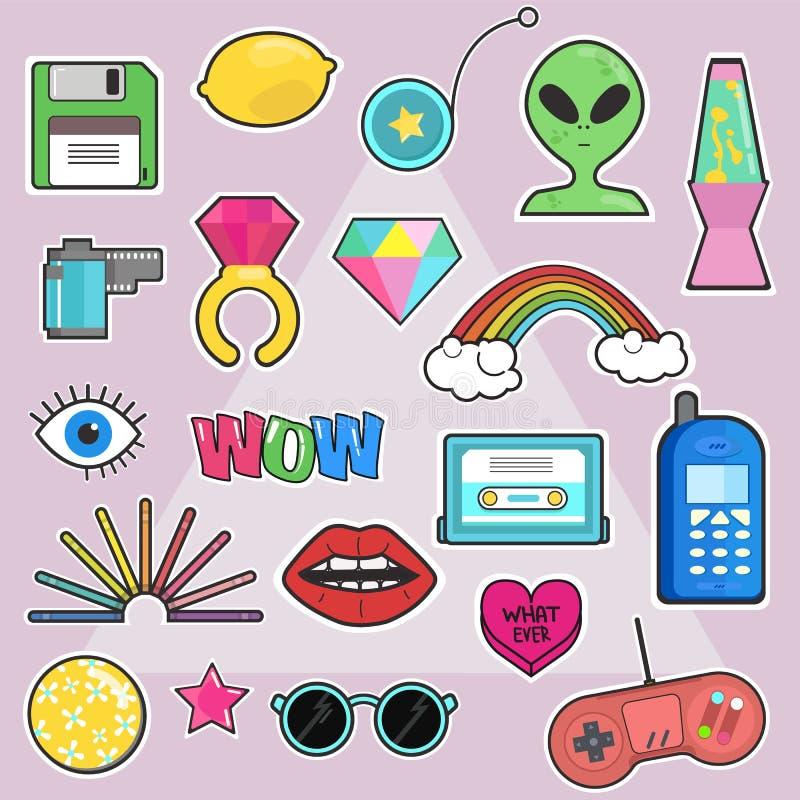 套时尚,流行艺术别致的补丁,徽章,别针,与元素80s-90s可笑的样式的贴纸 库存例证