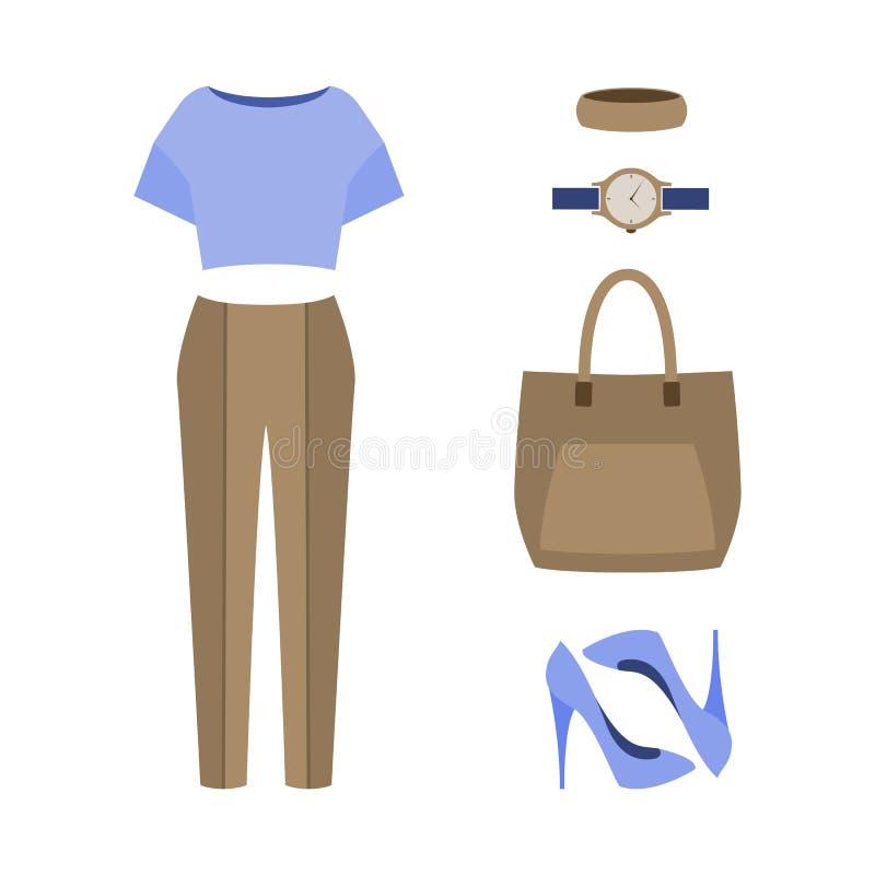 套时髦妇女的衣裳 妇女内裤成套装备,女衬衫 向量例证