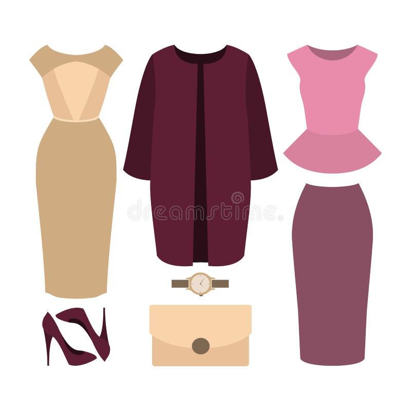 套时髦妇女的衣裳 妇女外套,礼服,滑雪成套装备  库存例证
