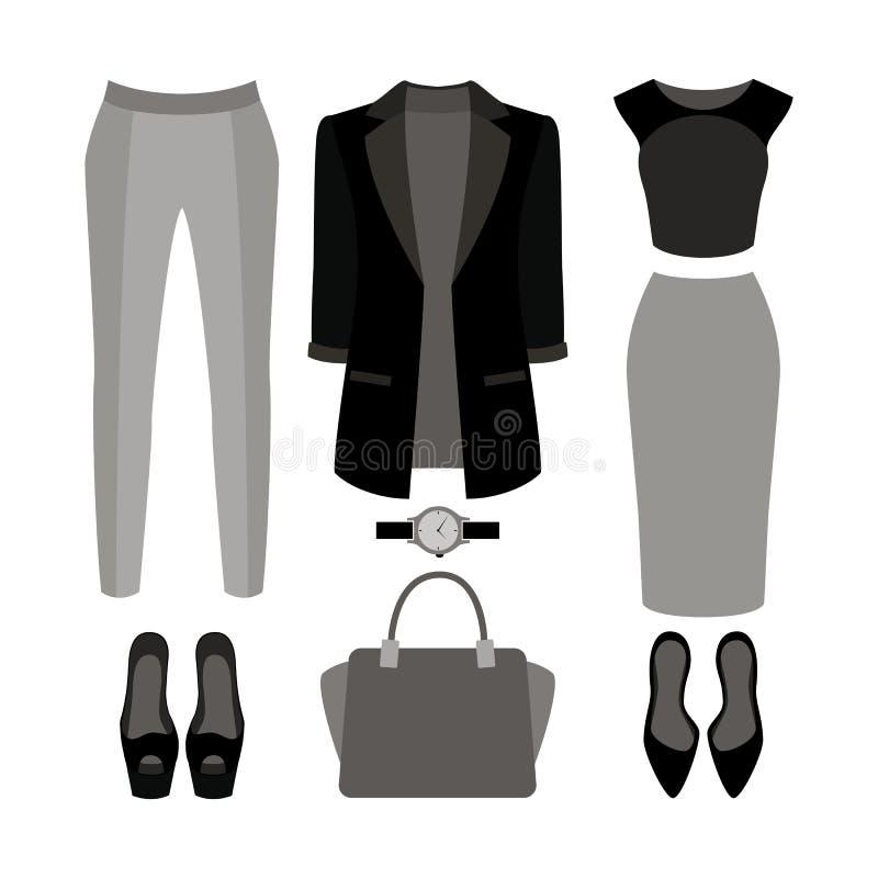 套时髦妇女的衣裳 妇女夹克,内裤成套装备, 皇族释放例证