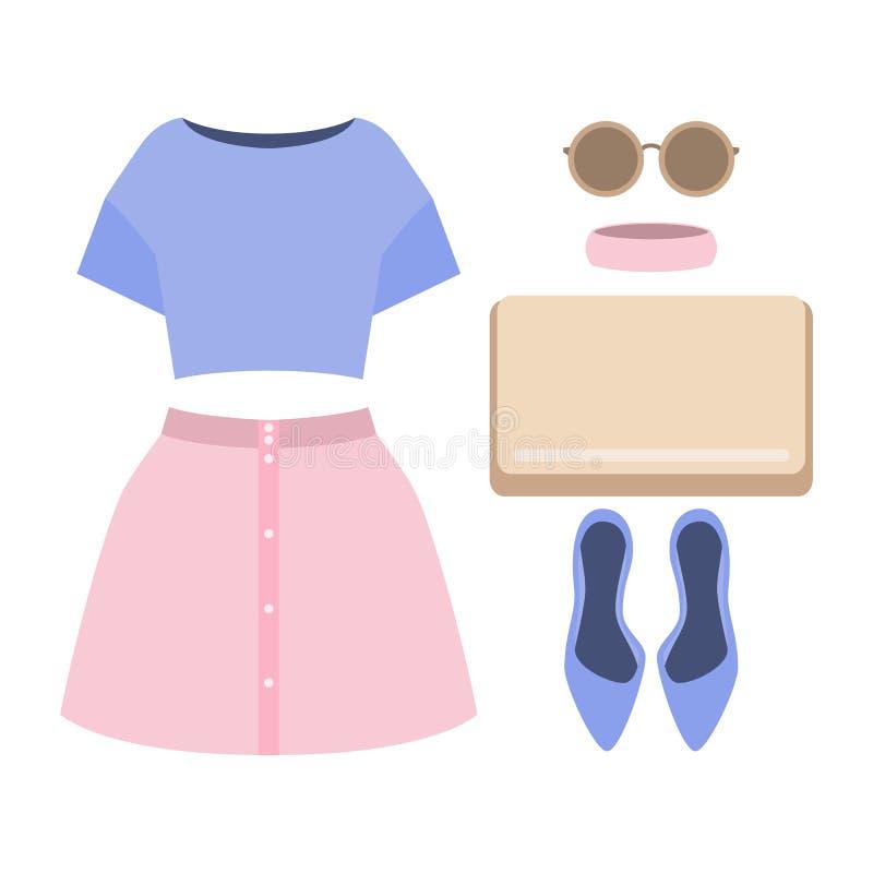 套时髦妇女的衣裳 妇女裙子,女衬衫成套装备和 向量例证