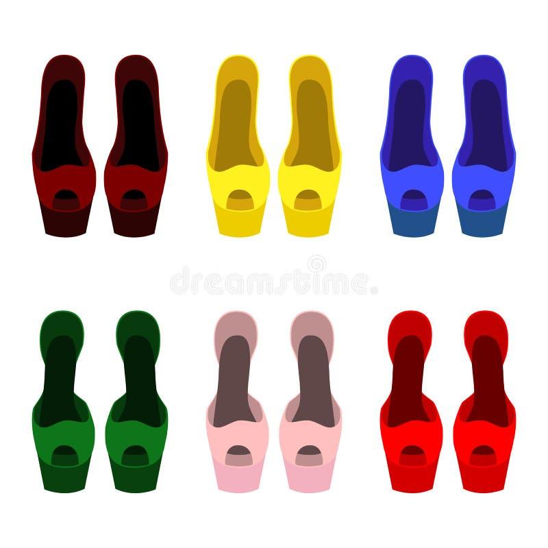 套时髦妇女的鞋子 皇族释放例证