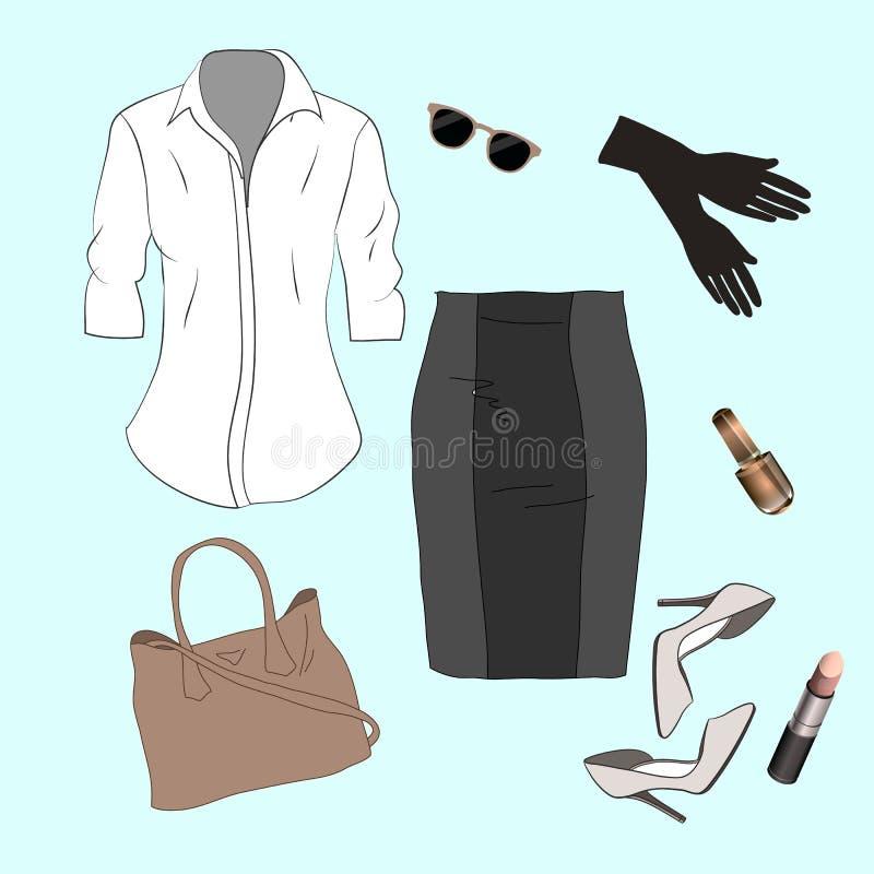 套时髦妇女` s衣裳 妇女夹克成套装备, 皇族释放例证