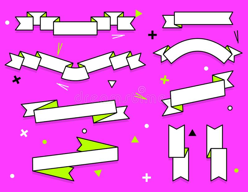 套时髦平的几何传染媒介丝带 在减速火箭的海报的生动的透明横幅设计样式 葡萄酒颜色和 库存例证