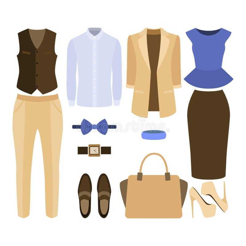 套时髦衣裳 人成套装备和妇女衣裳和辅助部件 向量例证