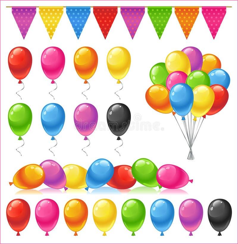 套明亮的光滑的色的气球 皇族释放例证