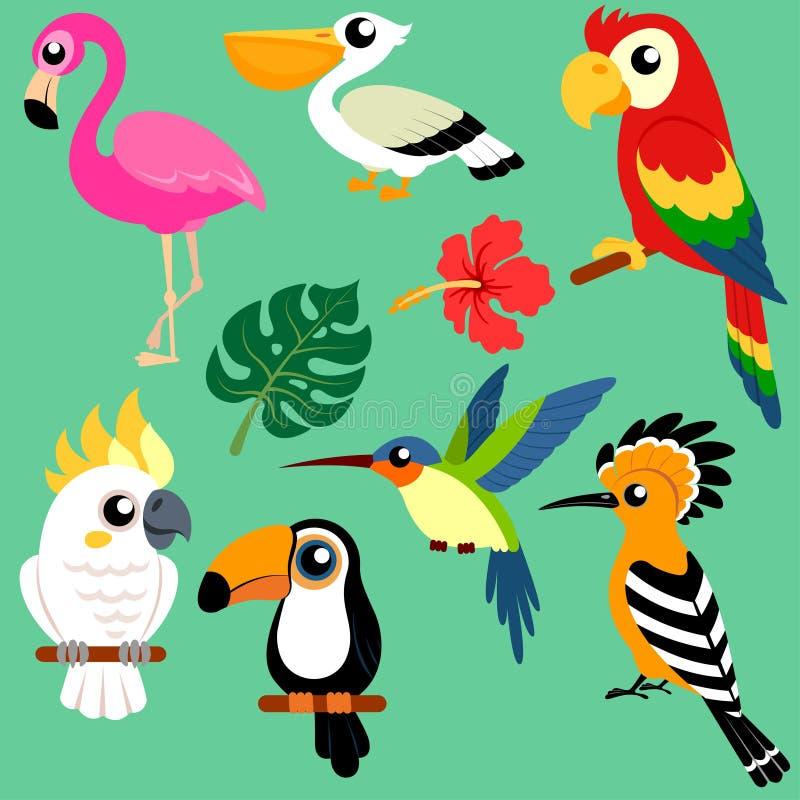 套明亮的异乎寻常的热带鸟 向量例证