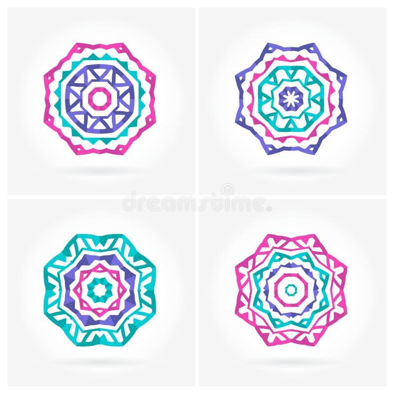 套明亮的桃红色,蓝色坛场 四美丽的圆装饰品 坛场 库存例证