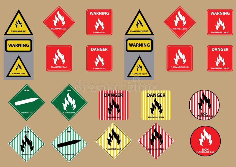 套易燃液体气体固体燃料标志 向量例证