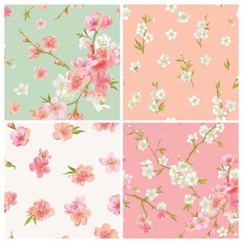 套春天开花开花背景 向量例证