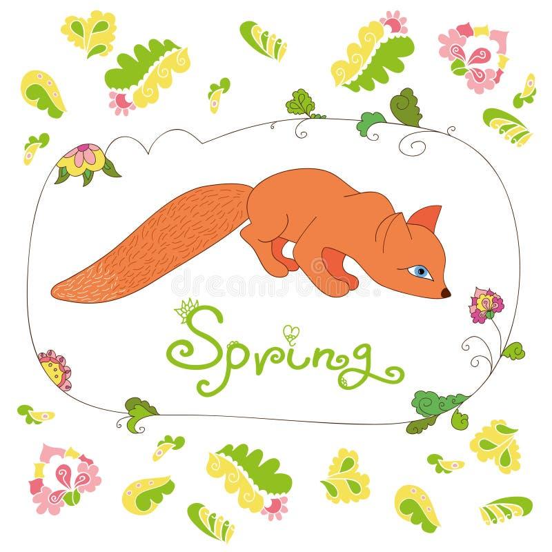 套春天花和叶子和逗人喜爱的狐狸 向量例证