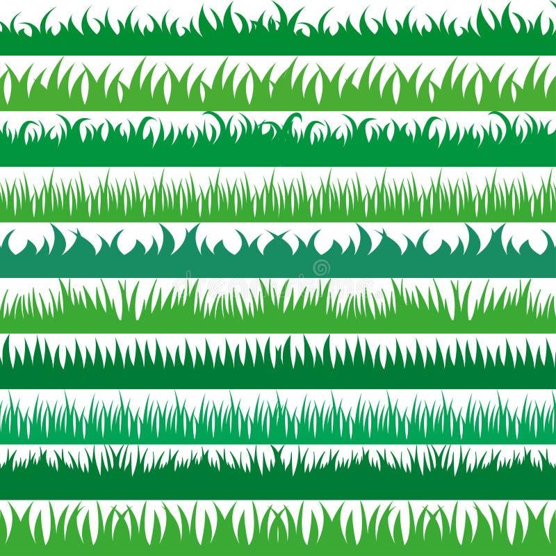 套春天绿草水平的边界 在白色背景的绿草汇集 皇族释放例证